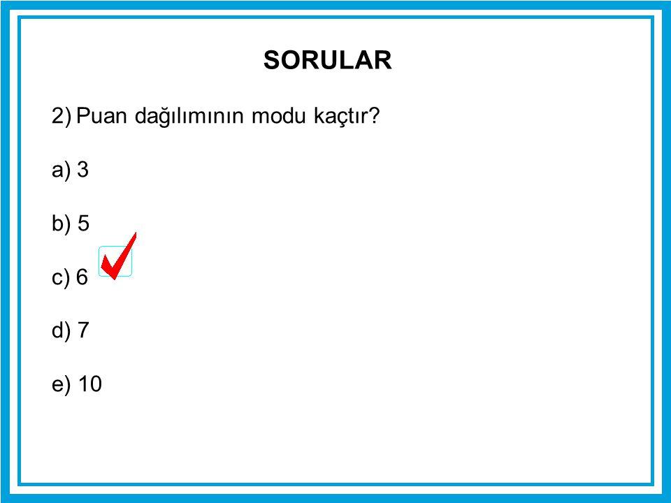 2) Puan dağılımının modu kaçtır? a)3 b) 5 c) 6 d) 7 e) 10 SORULAR