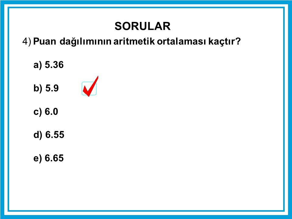 4) Puan dağılımının aritmetik ortalaması kaçtır? a) 5.36 b) 5.9 c) 6.0 d) 6.55 e) 6.65 SORULAR