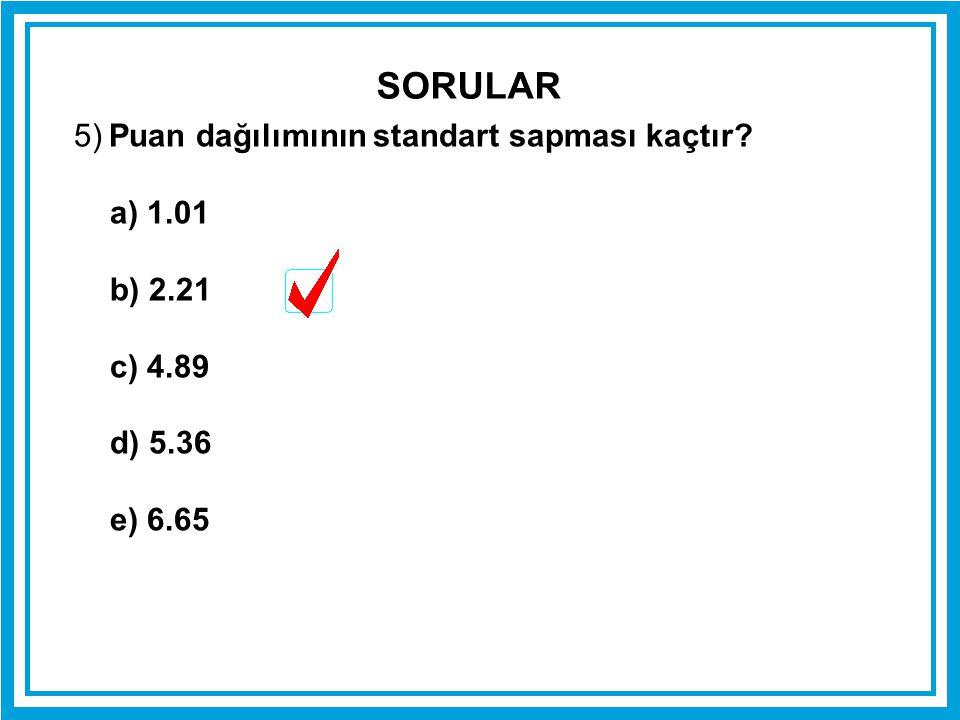 5) Puan dağılımının standart sapması kaçtır? a) 1.01 b) 2.21 c) 4.89 d) 5.36 e) 6.65 SORULAR
