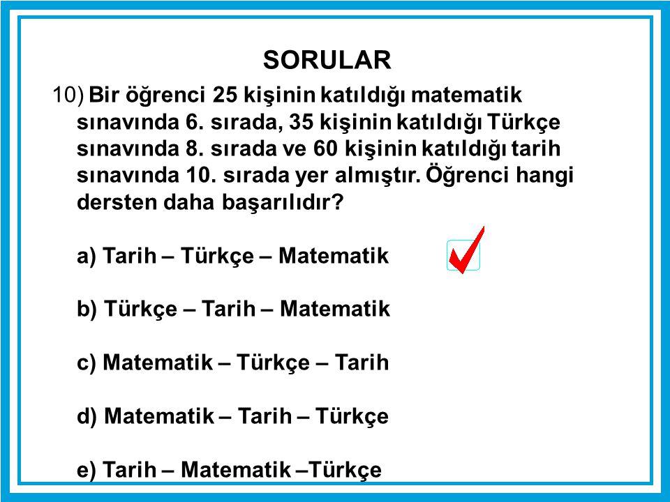 10) Bir öğrenci 25 kişinin katıldığı matematik sınavında 6. sırada, 35 kişinin katıldığı Türkçe sınavında 8. sırada ve 60 kişinin katıldığı tarih sına