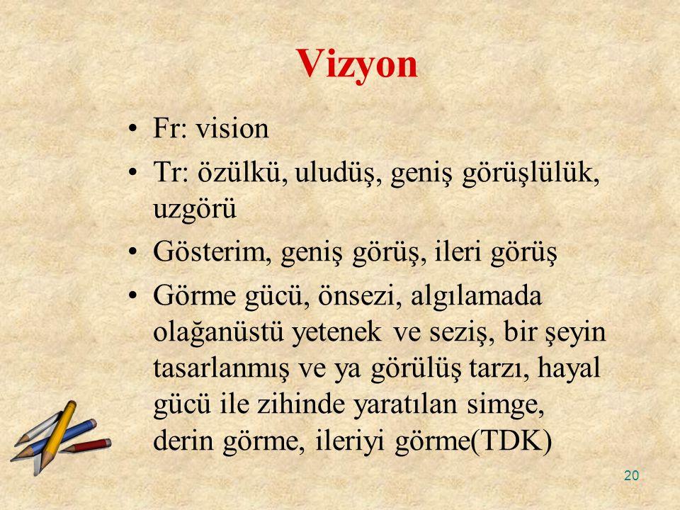 20 Vizyon Fr: vision Tr: özülkü, uludüş, geniş görüşlülük, uzgörü Gösterim, geniş görüş, ileri görüş Görme gücü, önsezi, algılamada olağanüstü yetenek