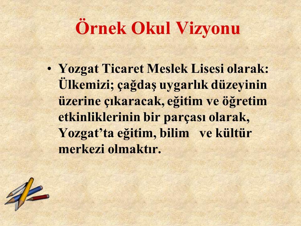 Örnek Okul Vizyonu Yozgat Ticaret Meslek Lisesi olarak: Ülkemizi; çağdaş uygarlık düzeyinin üzerine çıkaracak, eğitim ve öğretim etkinliklerinin bir p