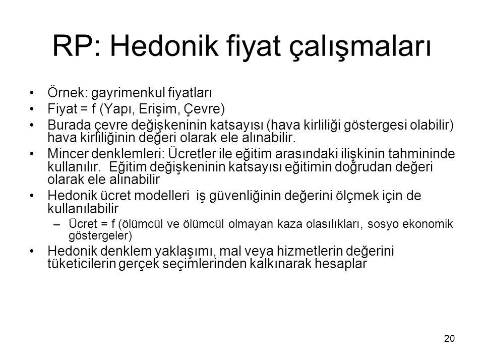 20 RP: Hedonik fiyat çalışmaları Örnek: gayrimenkul fiyatları Fiyat = f (Yapı, Erişim, Çevre) Burada çevre değişkeninin katsayısı (hava kirliliği göst
