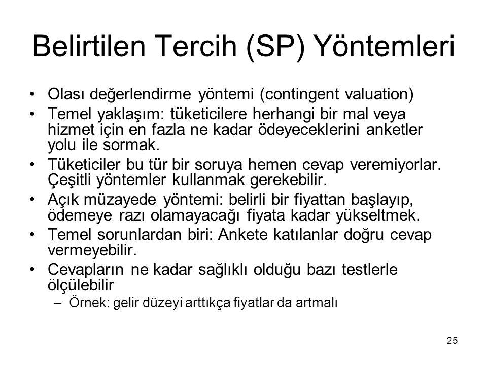 25 Belirtilen Tercih (SP) Yöntemleri Olası değerlendirme yöntemi (contingent valuation) Temel yaklaşım: tüketicilere herhangi bir mal veya hizmet için