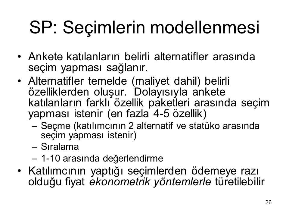 26 SP: Seçimlerin modellenmesi Ankete katılanların belirli alternatifler arasında seçim yapması sağlanır. Alternatifler temelde (maliyet dahil) belirl