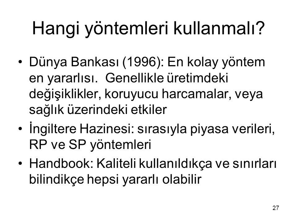 27 Hangi yöntemleri kullanmalı? Dünya Bankası (1996): En kolay yöntem en yararlısı. Genellikle üretimdeki değişiklikler, koruyucu harcamalar, veya sağ