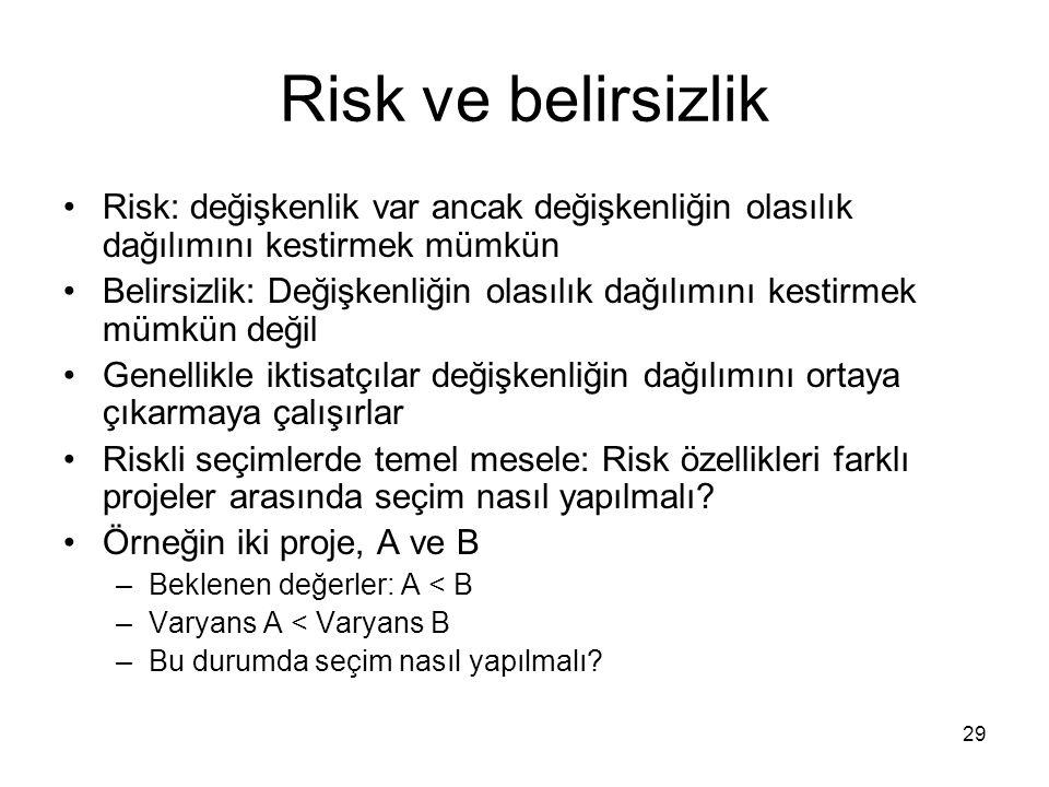29 Risk ve belirsizlik Risk: değişkenlik var ancak değişkenliğin olasılık dağılımını kestirmek mümkün Belirsizlik: Değişkenliğin olasılık dağılımını k