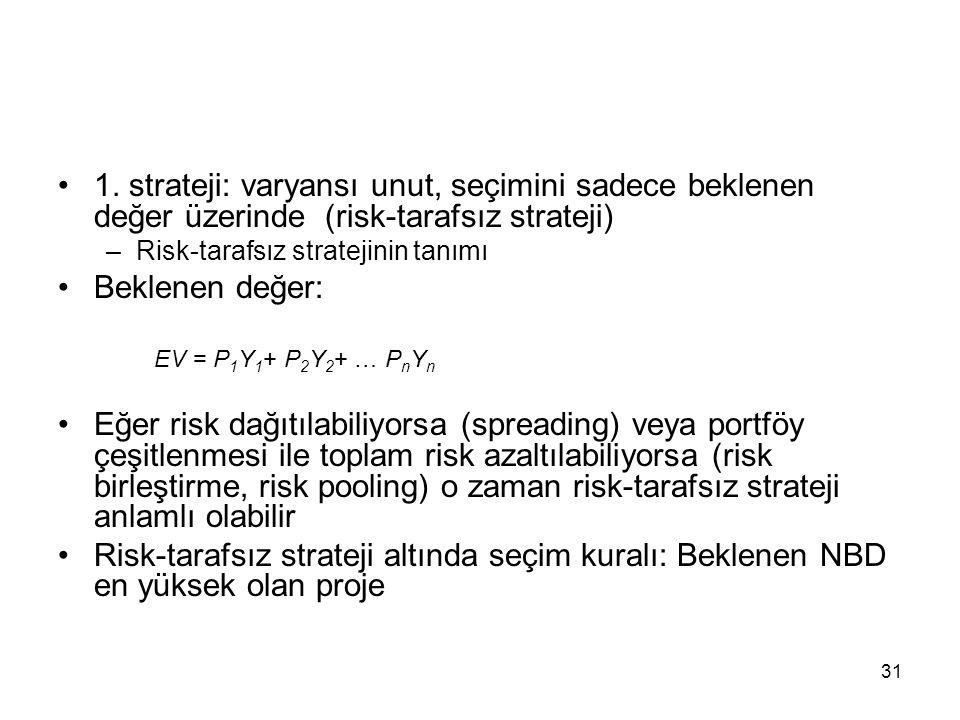 31 1. strateji: varyansı unut, seçimini sadece beklenen değer üzerinde (risk-tarafsız strateji) –Risk-tarafsız stratejinin tanımı Beklenen değer: EV =