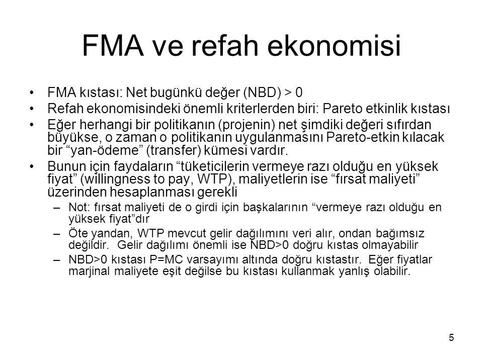 5 FMA ve refah ekonomisi FMA kıstası: Net bugünkü değer (NBD) > 0 Refah ekonomisindeki önemli kriterlerden biri: Pareto etkinlik kıstası Eğer herhangi