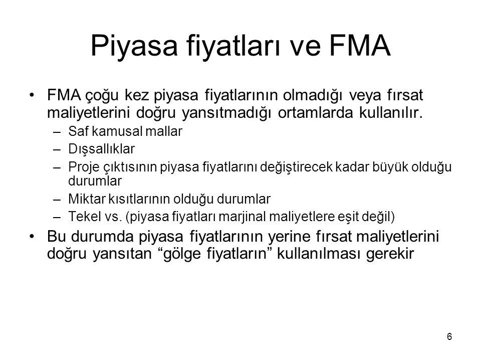 6 Piyasa fiyatları ve FMA FMA çoğu kez piyasa fiyatlarının olmadığı veya fırsat maliyetlerini doğru yansıtmadığı ortamlarda kullanılır. –Saf kamusal m