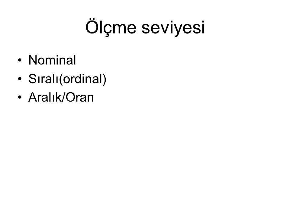 Ölçme seviyesi Nominal Sıralı(ordinal) Aralık/Oran