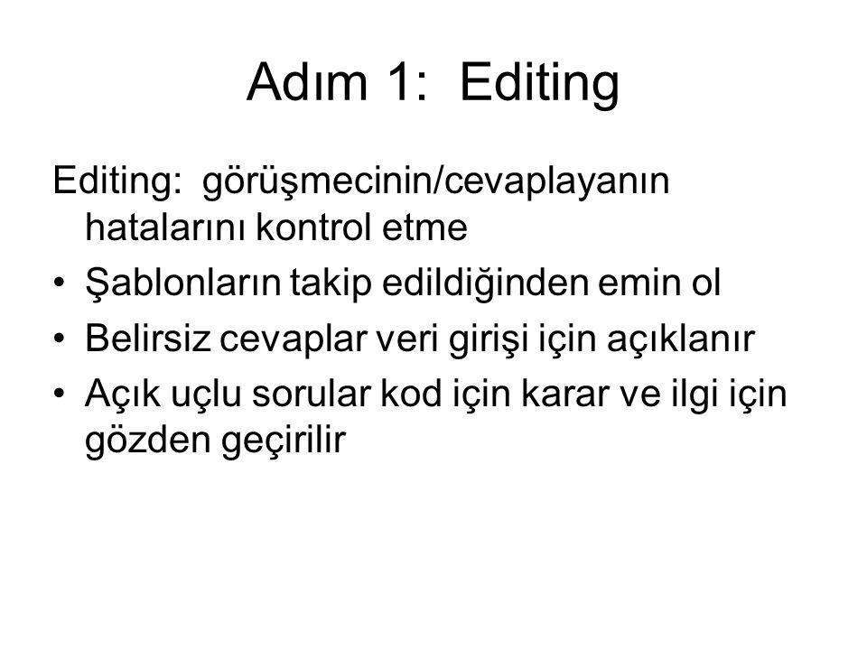 Veri işleme 1.Editing 2. Kodlama 3. Veri girişi 4.