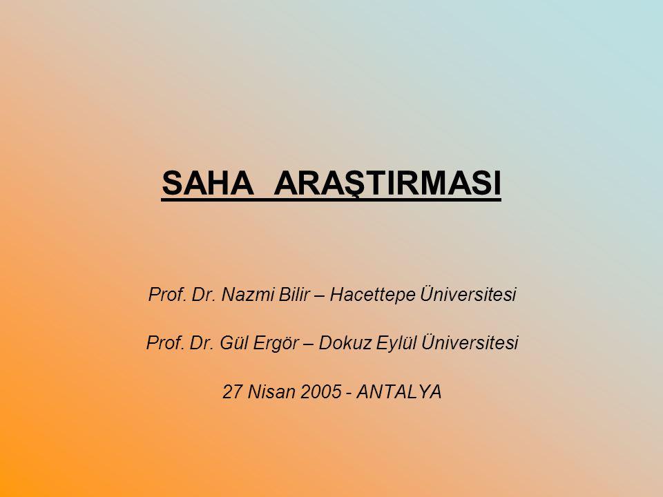 SAHA ARAŞTIRMASI Prof. Dr. Nazmi Bilir – Hacettepe Üniversitesi Prof. Dr. Gül Ergör – Dokuz Eylül Üniversitesi 27 Nisan 2005 - ANTALYA