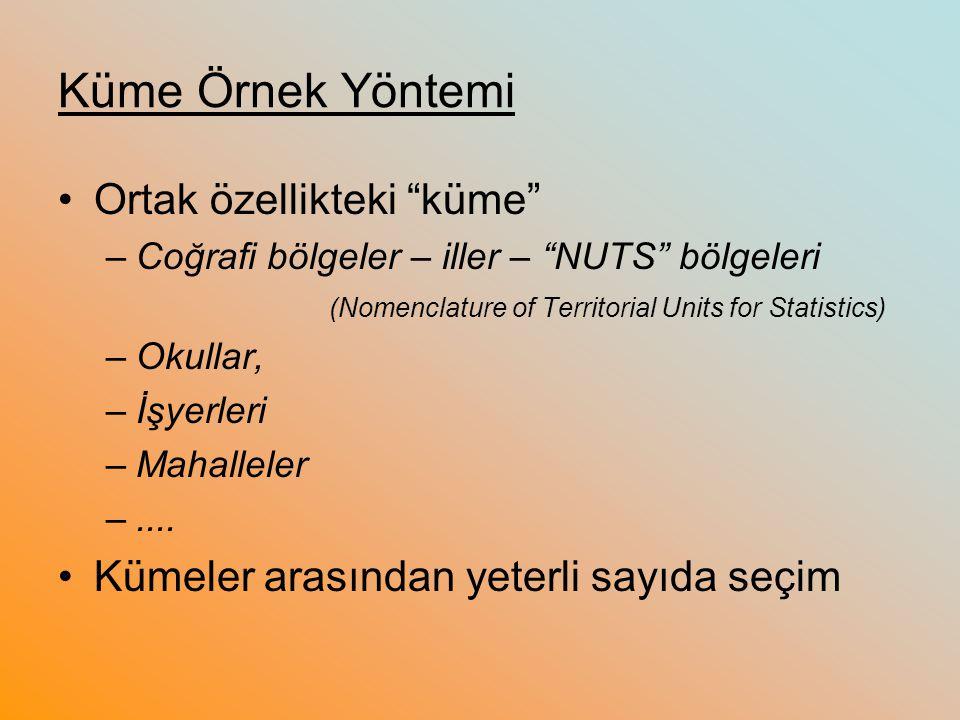 """Küme Örnek Yöntemi Ortak özellikteki """"küme"""" –Coğrafi bölgeler – iller – """"NUTS"""" bölgeleri (Nomenclature of Territorial Units for Statistics) –Okullar,"""