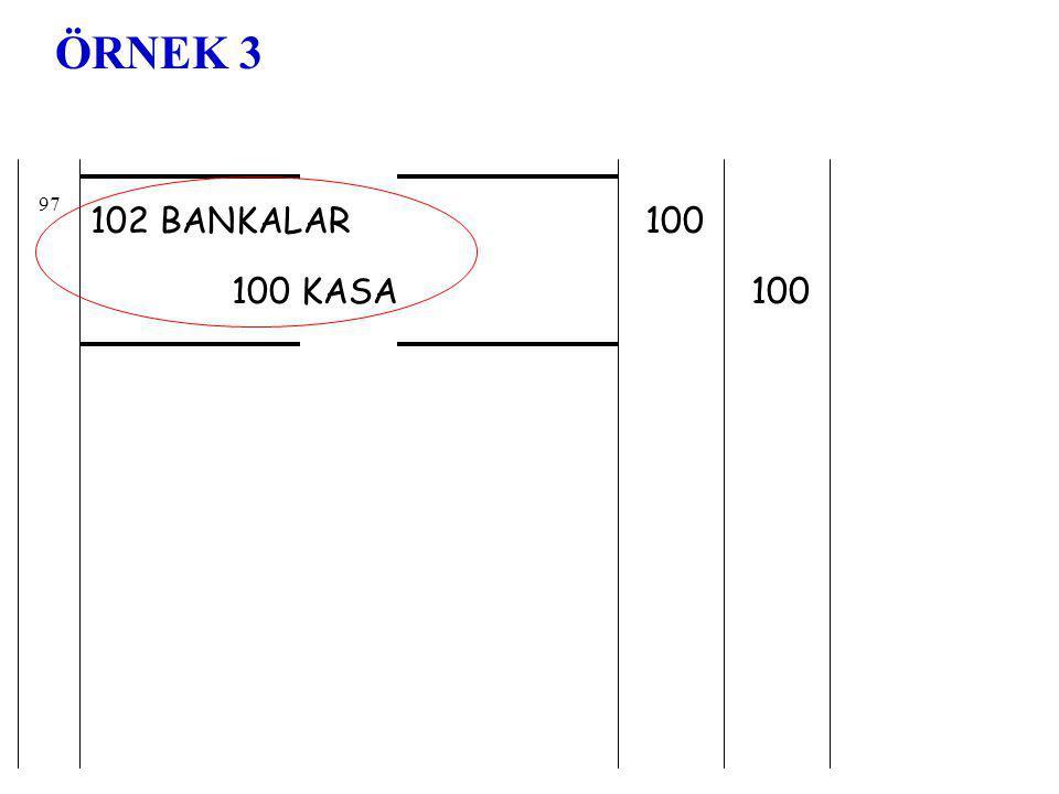 102 BANKALAR 100 KASA 100 97 ÖRNEK 3