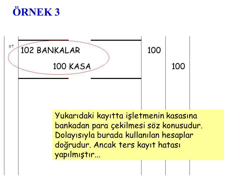 102 BANKALAR 100 KASA 100 97 ÖRNEK 3 Yukarıdaki kayıtta işletmenin kasasına bankadan para çekilmesi söz konusudur.