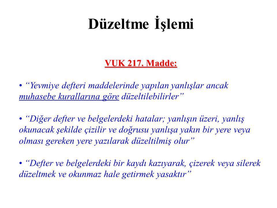 Düzeltme İşlemi VUK 217.