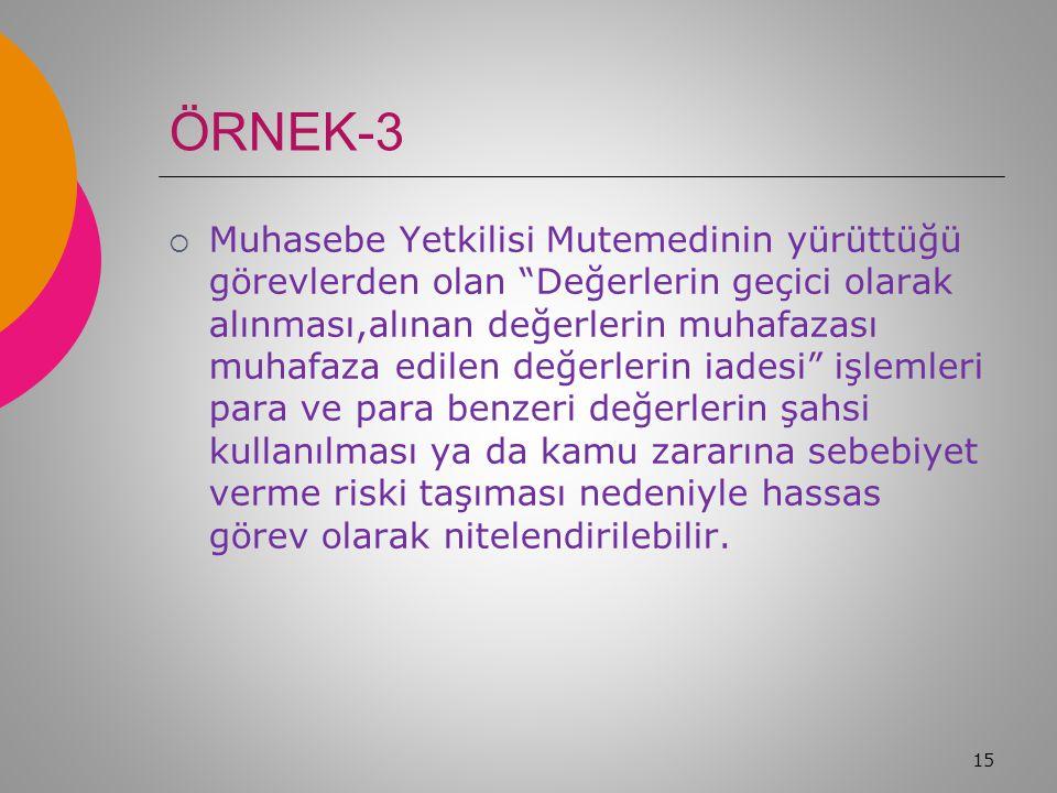 ÖRNEK-2  Gelir, gider, varlık ve yükümlülüklere ilişkin mali karar ve işlemlerin mali mevzuata uygunluk açısından denetimini yapan Ön Mali Kontrol Bi