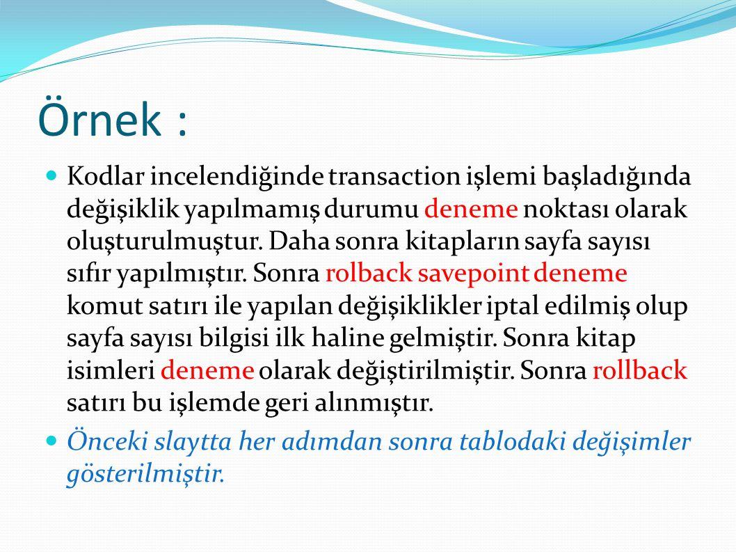 Örnek : Kodlar incelendiğinde transaction işlemi başladığında değişiklik yapılmamış durumu deneme noktası olarak oluşturulmuştur. Daha sonra kitapları