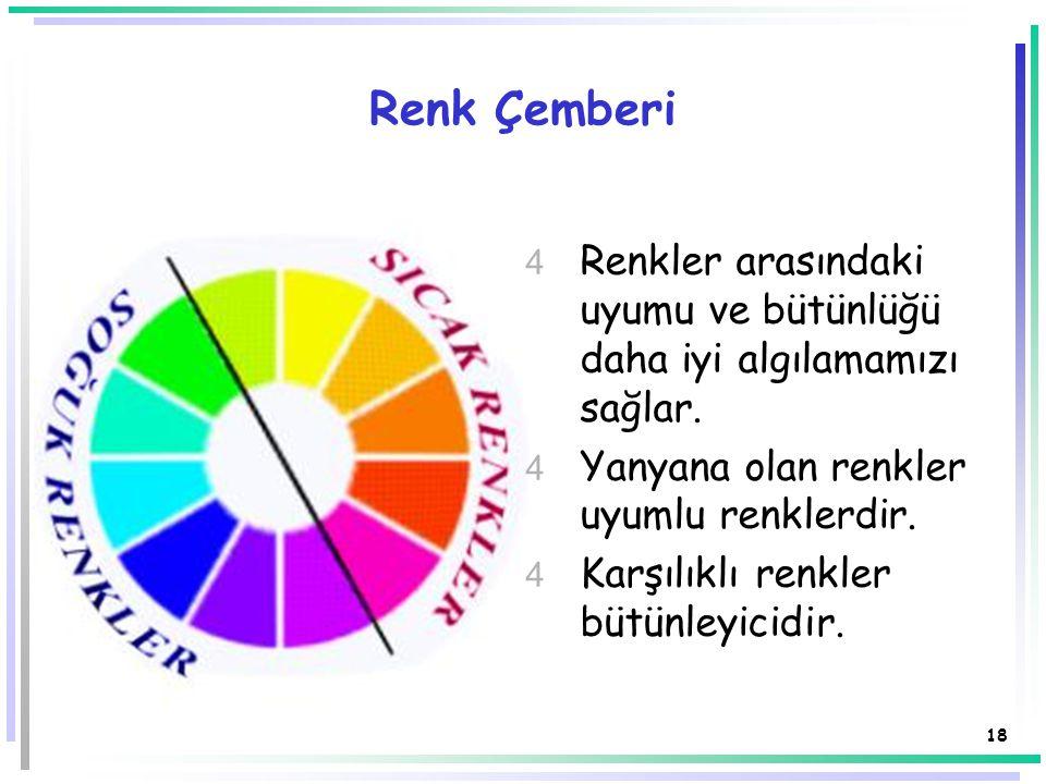 17 Renk  Uygun renk seçimleri; görsel tasarımları geliştirir ve ayrı bir hava/önem kazandırır, dikkat uyarır ve görsel etki yapar.