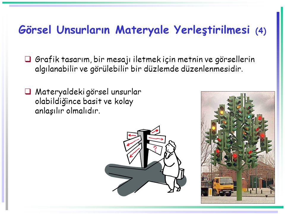 -48- Görsel Unsurların Materyale Yerleştirilmesi (3) Materyaldeki görsel unsurlar olabildiğince basit ve kolay anlaşılır olmalıdır.