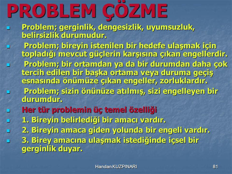 81 PROBLEM ÇÖZME Problem; gerginlik, dengesizlik, uyumsuzluk, belirsizlik durumudur.