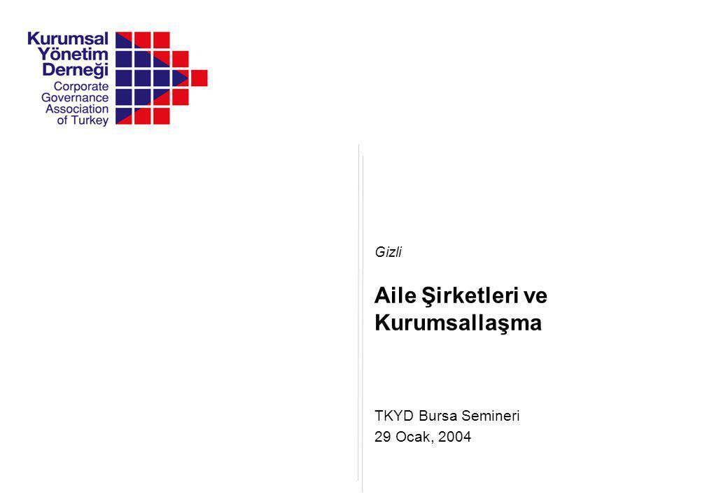 TKYD Bursa Semineri Gizli 29 Ocak, 2004 Aile Şirketleri ve Kurumsallaşma