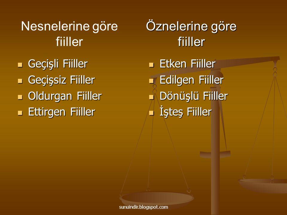 sunuindir.blogspot.com B) Edilgen Fiiller -Gerçek öznesi söylenmeyen (ve bilinmeyen) fiillerdir.