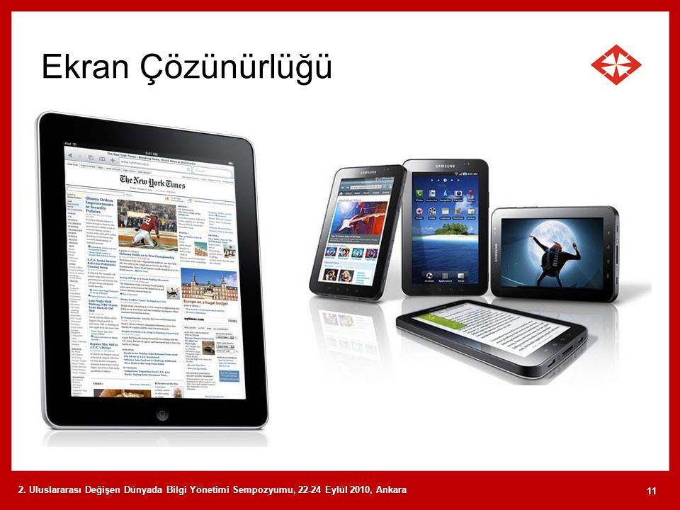 Ekran Çözünürlüğü 2. Uluslararası Değişen Dünyada Bilgi Yönetimi Sempozyumu, 22-24 Eylül 2010, Ankara 11