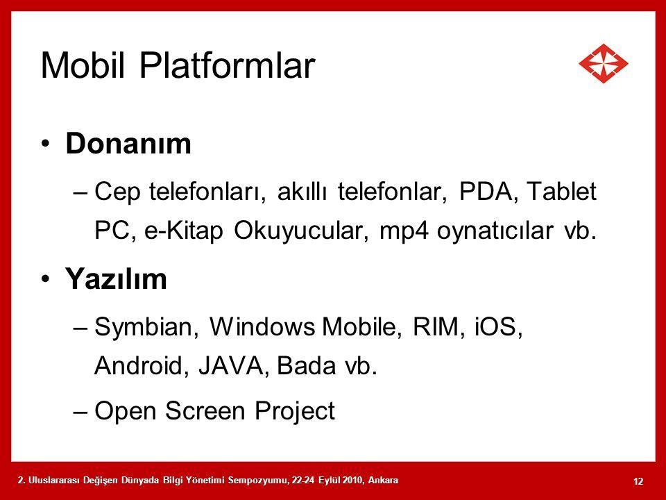 Mobil Platformlar Donanım –Cep telefonları, akıllı telefonlar, PDA, Tablet PC, e-Kitap Okuyucular, mp4 oynatıcılar vb. Yazılım –Symbian, Windows Mobil