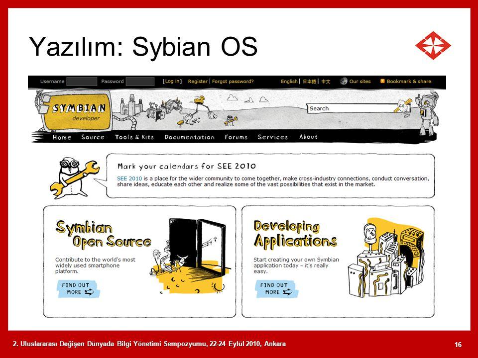Yazılım: Sybian OS 2. Uluslararası Değişen Dünyada Bilgi Yönetimi Sempozyumu, 22-24 Eylül 2010, Ankara 16