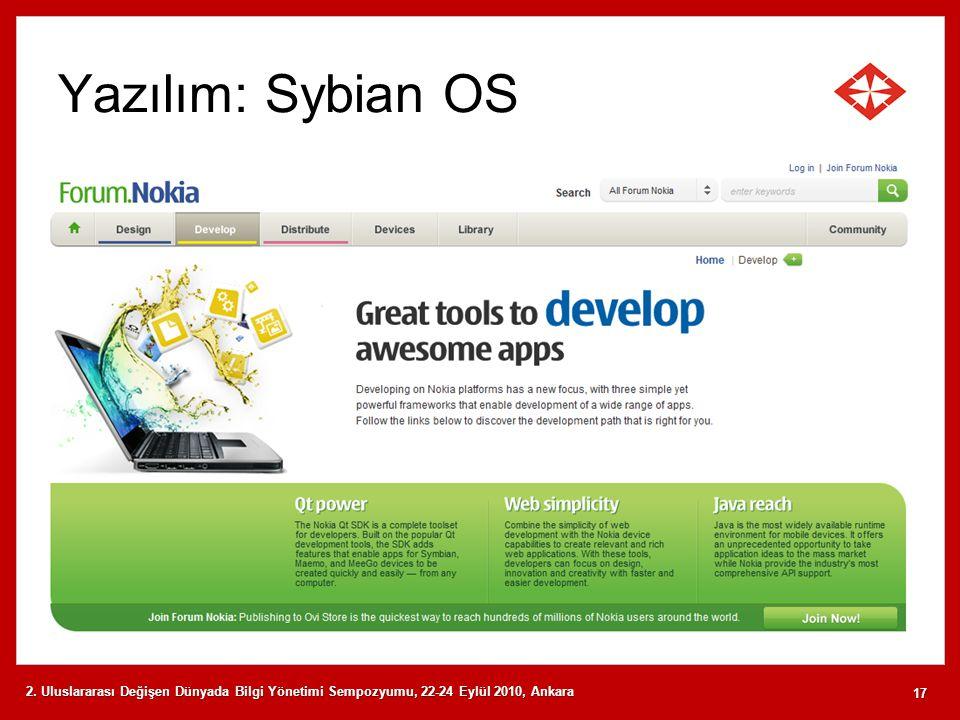Yazılım: Sybian OS 2. Uluslararası Değişen Dünyada Bilgi Yönetimi Sempozyumu, 22-24 Eylül 2010, Ankara 17