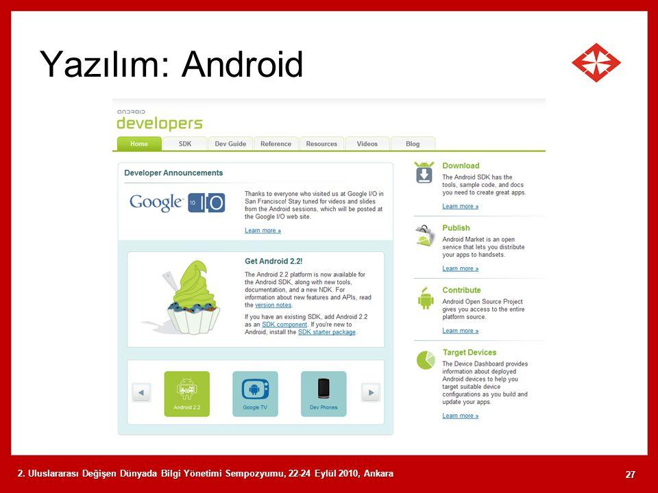 Yazılım: Android 2. Uluslararası Değişen Dünyada Bilgi Yönetimi Sempozyumu, 22-24 Eylül 2010, Ankara 27