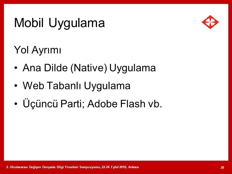 Mobil Uygulama Yol Ayrımı Ana Dilde (Native) Uygulama Web Tabanlı Uygulama Üçüncü Parti; Adobe Flash vb. 2. Uluslararası Değişen Dünyada Bilgi Yönetim