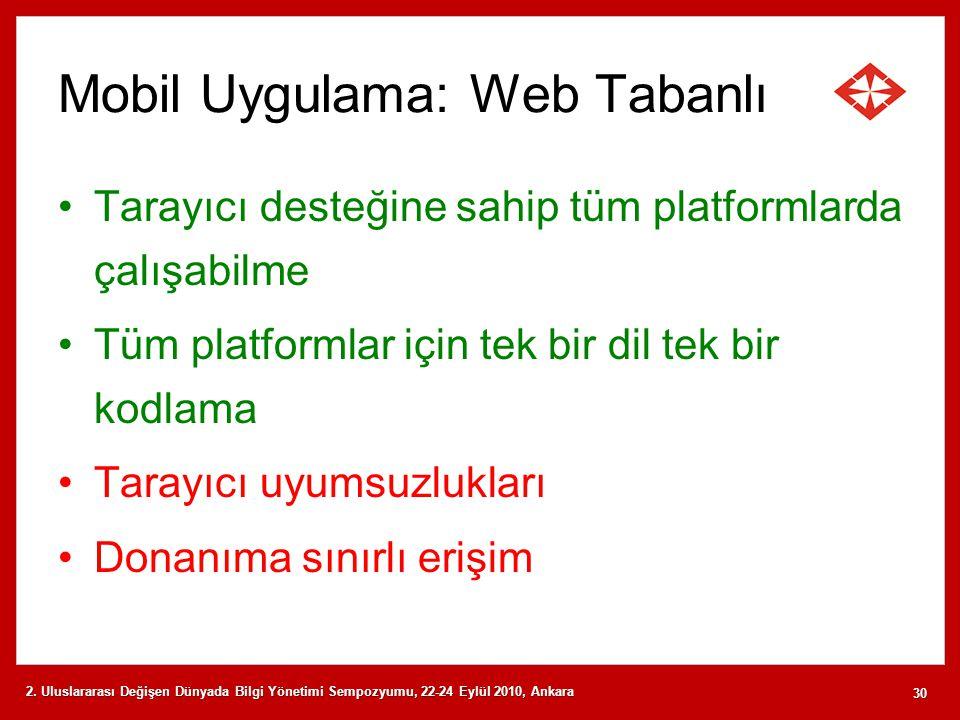 Mobil Uygulama: Web Tabanlı Tarayıcı desteğine sahip tüm platformlarda çalışabilme Tüm platformlar için tek bir dil tek bir kodlama Tarayıcı uyumsuzlu