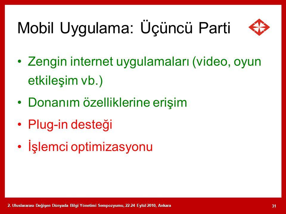 Mobil Uygulama: Üçüncü Parti Zengin internet uygulamaları (video, oyun etkileşim vb.) Donanım özelliklerine erişim Plug-in desteği İşlemci optimizasyo