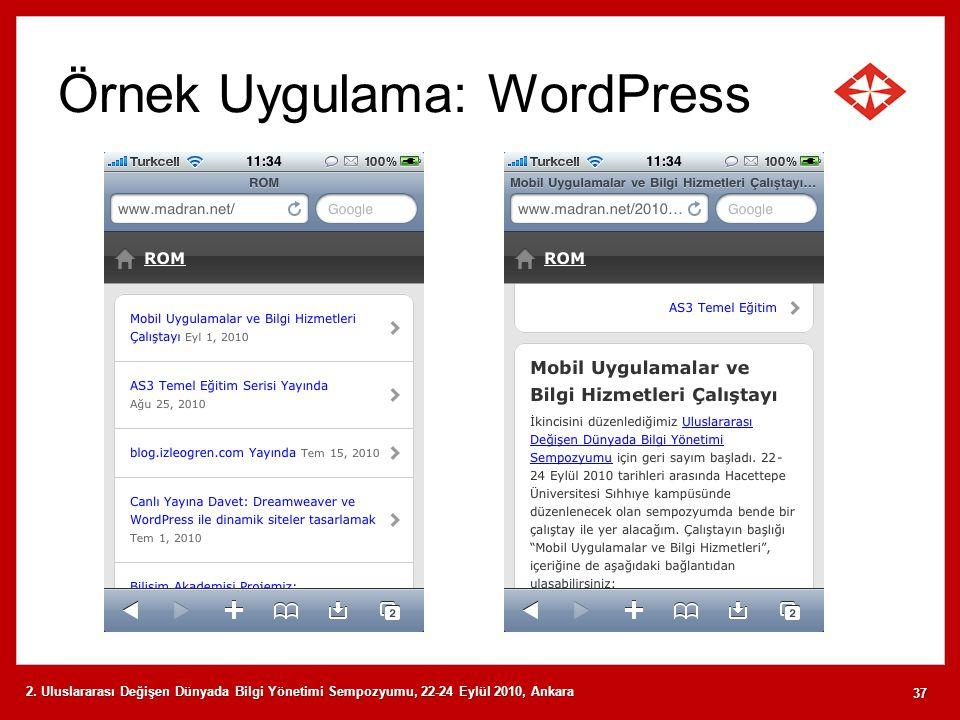 Örnek Uygulama: WordPress 2. Uluslararası Değişen Dünyada Bilgi Yönetimi Sempozyumu, 22-24 Eylül 2010, Ankara 37