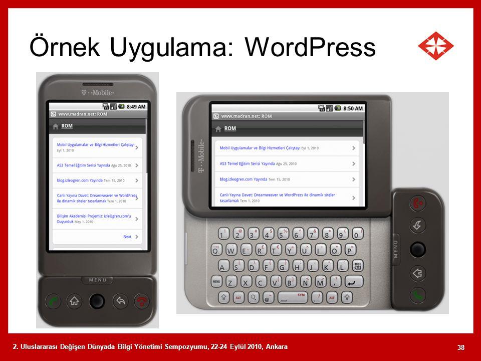 Örnek Uygulama: WordPress 2. Uluslararası Değişen Dünyada Bilgi Yönetimi Sempozyumu, 22-24 Eylül 2010, Ankara 38
