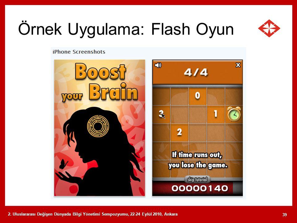 Örnek Uygulama: Flash Oyun 2. Uluslararası Değişen Dünyada Bilgi Yönetimi Sempozyumu, 22-24 Eylül 2010, Ankara 39