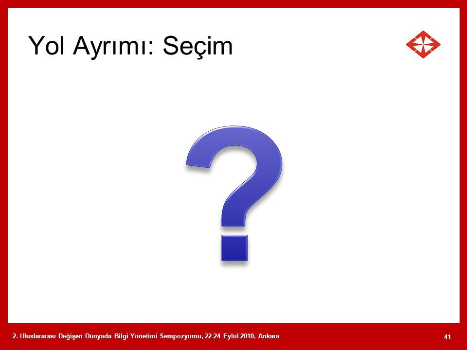 Yol Ayrımı: Seçim 2. Uluslararası Değişen Dünyada Bilgi Yönetimi Sempozyumu, 22-24 Eylül 2010, Ankara 41