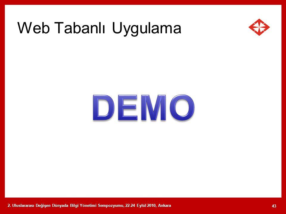 Web Tabanlı Uygulama 2. Uluslararası Değişen Dünyada Bilgi Yönetimi Sempozyumu, 22-24 Eylül 2010, Ankara 43