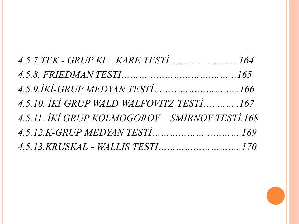 4.5.7.TEK - GRUP KI – KARE TESTİ……………………164 4.5.8.