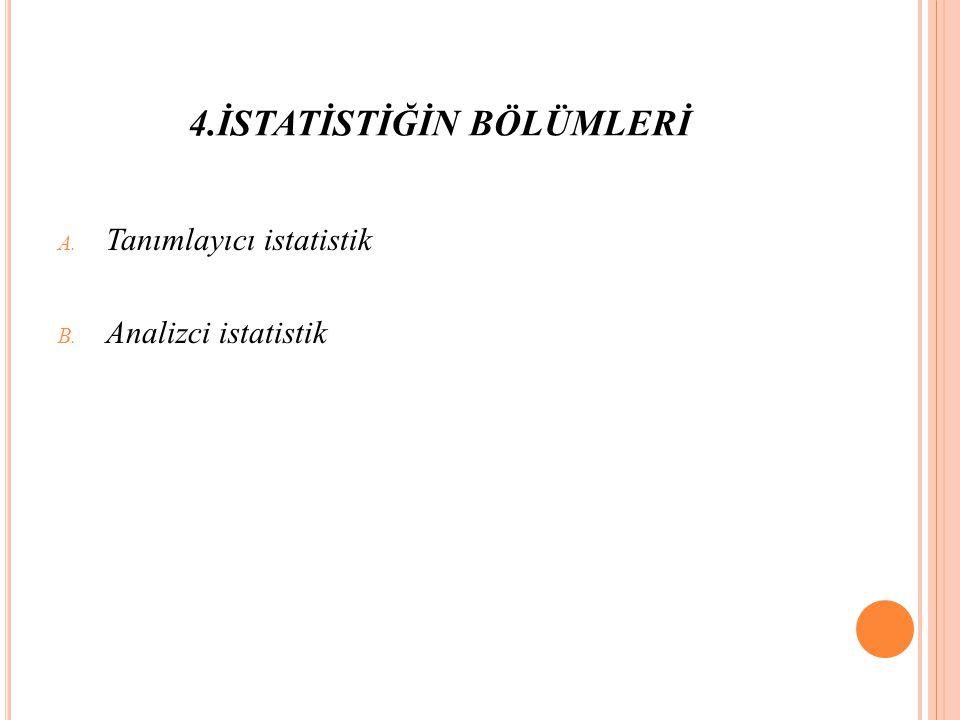 4.İSTATİSTİĞİN BÖLÜMLERİ A. Tanımlayıcı istatistik B. Analizci istatistik