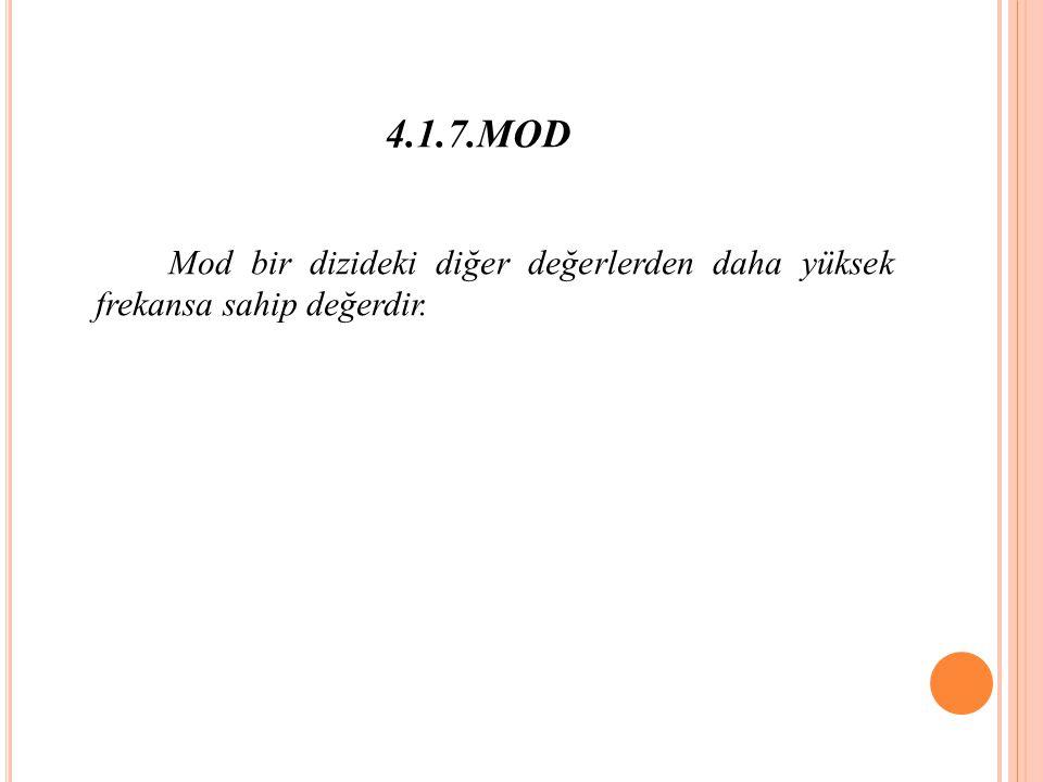 4.1.7.MOD Mod bir dizideki diğer değerlerden daha yüksek frekansa sahip değerdir.