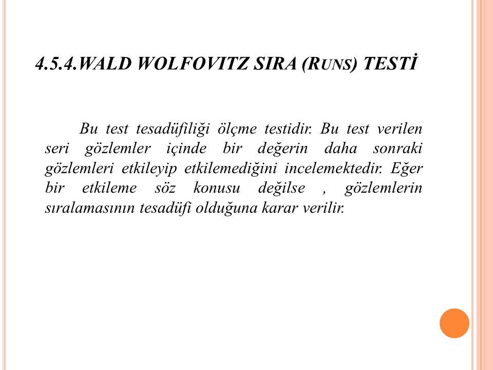 4.5.4.WALD WOLFOVITZ SIRA (R UNS ) TESTİ Bu test tesadüfiliği ölçme testidir.