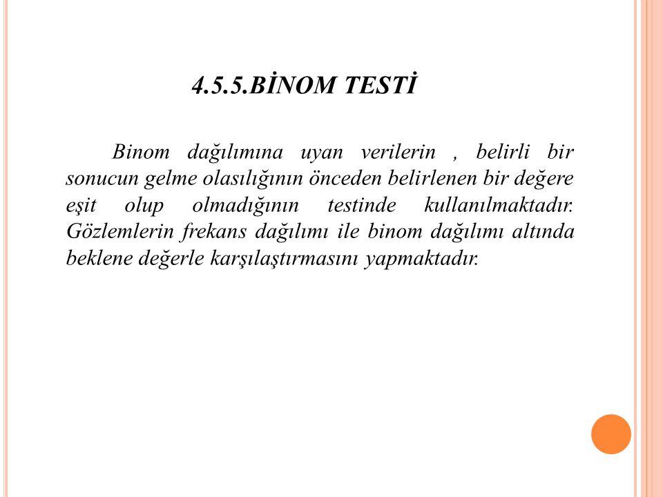 4.5.5.BİNOM TESTİ Binom dağılımına uyan verilerin, belirli bir sonucun gelme olasılığının önceden belirlenen bir değere eşit olup olmadığının testinde kullanılmaktadır.