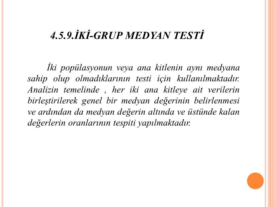 4.5.9.İKİ-GRUP MEDYAN TESTİ İki popülasyonun veya ana kitlenin aynı medyana sahip olup olmadıklarının testi için kullanılmaktadır.