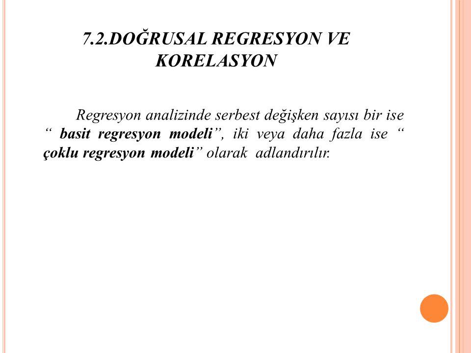 7.2.DOĞRUSAL REGRESYON VE KORELASYON Regresyon analizinde serbest değişken sayısı bir ise basit regresyon modeli , iki veya daha fazla ise çoklu regresyon modeli olarak adlandırılır.