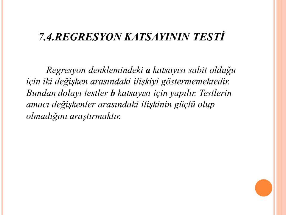 7.4.REGRESYON KATSAYININ TESTİ Regresyon denklemindeki a katsayısı sabit olduğu için iki değişken arasındaki ilişkiyi göstermemektedir.