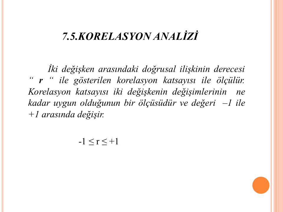 7.5.KORELASYON ANALİZİ İki değişken arasındaki doğrusal ilişkinin derecesi r ile gösterilen korelasyon katsayısı ile ölçülür.